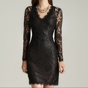 Lace cocktail dress long sleeves vneck prom